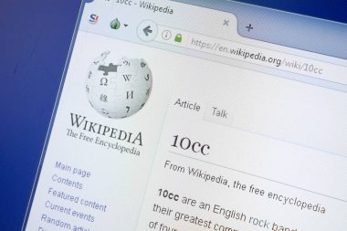 Ryazan, Russia - August 19, 2018: Wikipedia page about 10cc on the display of PC