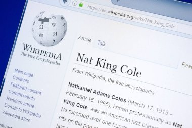 Ryazan, Russia - August 28, 2018: Wikipedia page about Nat King Cole on the display of PC.