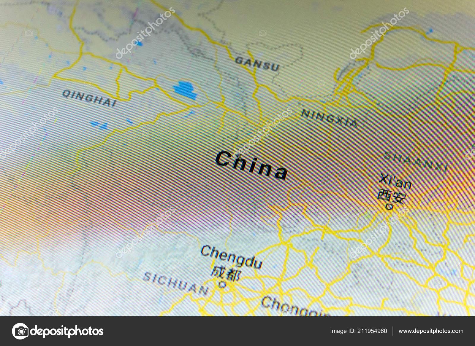 Ryazan Russland Juli 2018 Land China Auf Der Google Maps ...