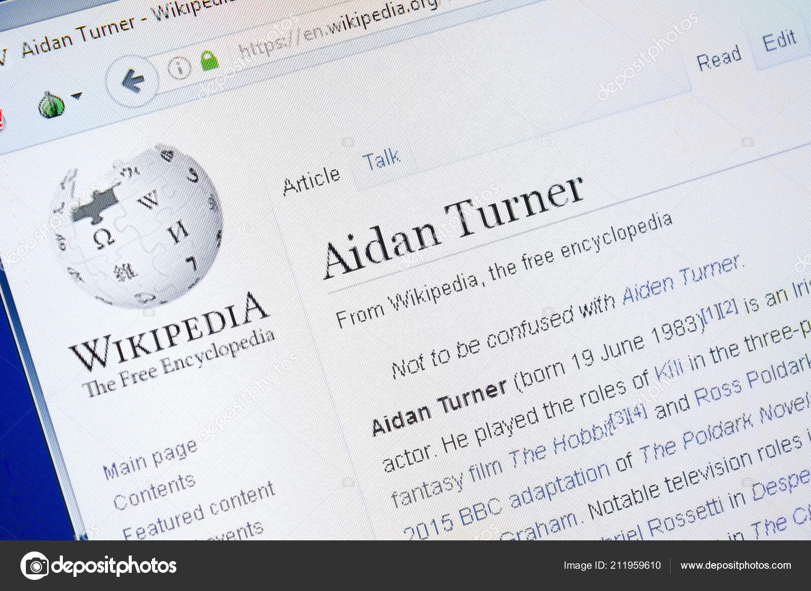 Ryazan, Russia - August 28, 2018: Wikipedia page about Aidan