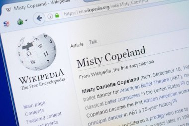 Ryazan, Russia - August 19, 2018: Wikipedia page about Misty Copeland on the display of PC