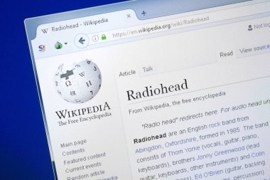 Ryazan, Russia - August 28, 2018: Wikipedia page about Radiohead on the display of PC.
