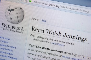 Ryazan, Russia - September 09, 2018 - Wikipedia page about Kerry Walsh Jennings on a display of PC