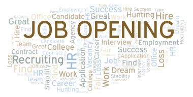 Job Opening word cloud. Wordcloud made with text only.