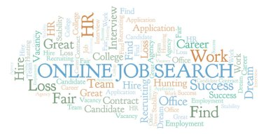 Online Job Search word cloud. Wordcloud made with text only.