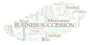 Business Succession word cloud. Wordcloud made with text only.