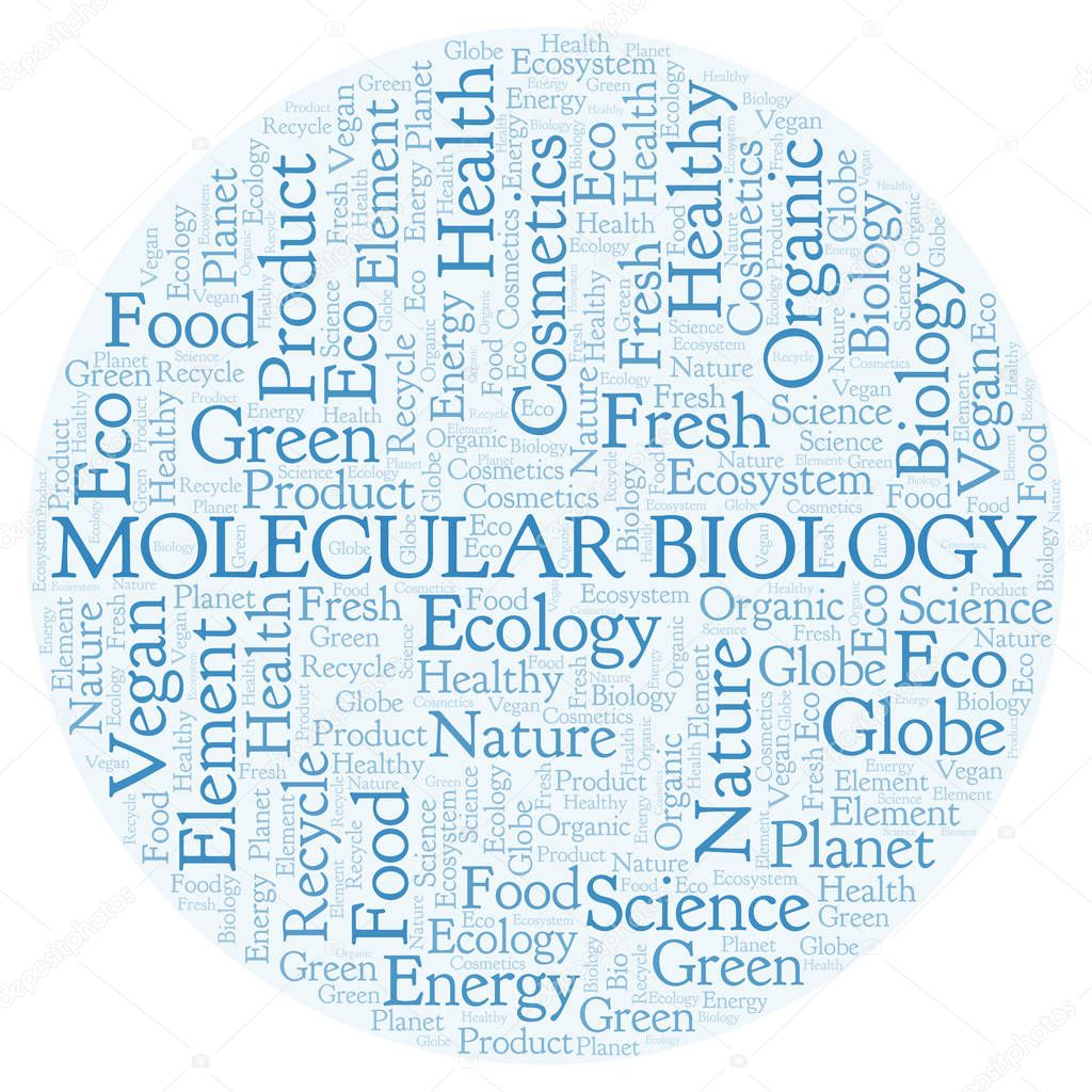 Molecular Biology word cloud. Wordcloud made with text only.
