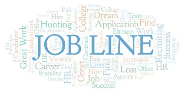 Job Line word cloud. Wordcloud made with text only.