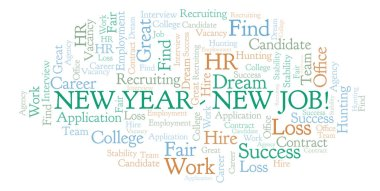 New Year New Job word cloud. Wordcloud made with text only.