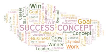 Success Concept word cloud. Wordcloud made with text only.