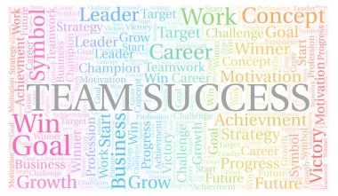 Team Success word cloud. Wordcloud made with text only.