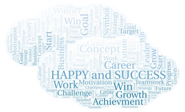 Happy And Success word cloud. Wordcloud made with text only.
