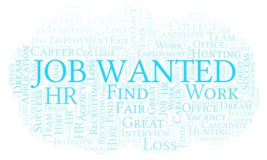 Job Wanted word cloud. Wordcloud made with text only.