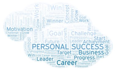 Personal Success word cloud. Wordcloud made with text only.