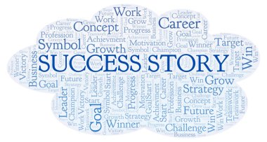 Success Story word cloud. Wordcloud made with text only.