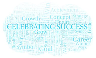 Celebrating Success word cloud. Wordcloud made with text only.