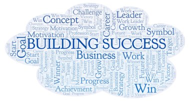 Building Success word cloud. Wordcloud made with text only.