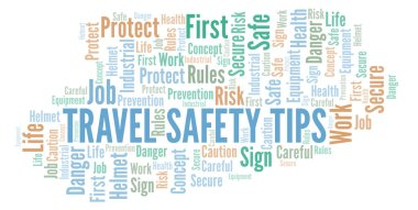 Travel Safety Tips word cloud. Word cloud made with text only.