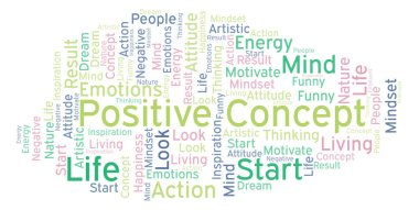 Positive Concept word cloud, made with text only