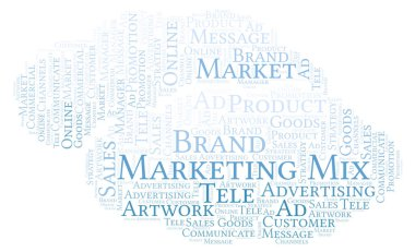 Word cloud with text Marketing Mix. Wordcloud made with text only.