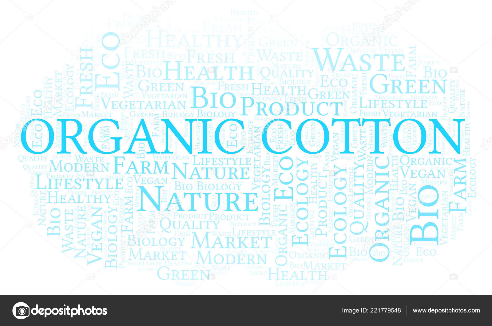 Organic Cotton Word Cloud Wordcloud Made Text Only — Stock