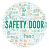 Safety Door word cloud. Word cloud made with text only.