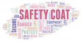 Safety Coat word cloud. Word cloud made with text only.