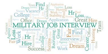 Military Job Interview word cloud. Wordcloud made with text only.