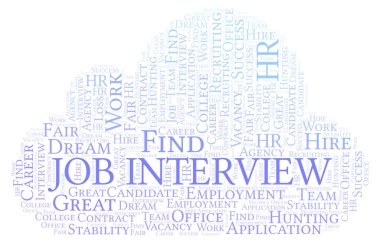 Job Interview word cloud. Wordcloud made with text only.