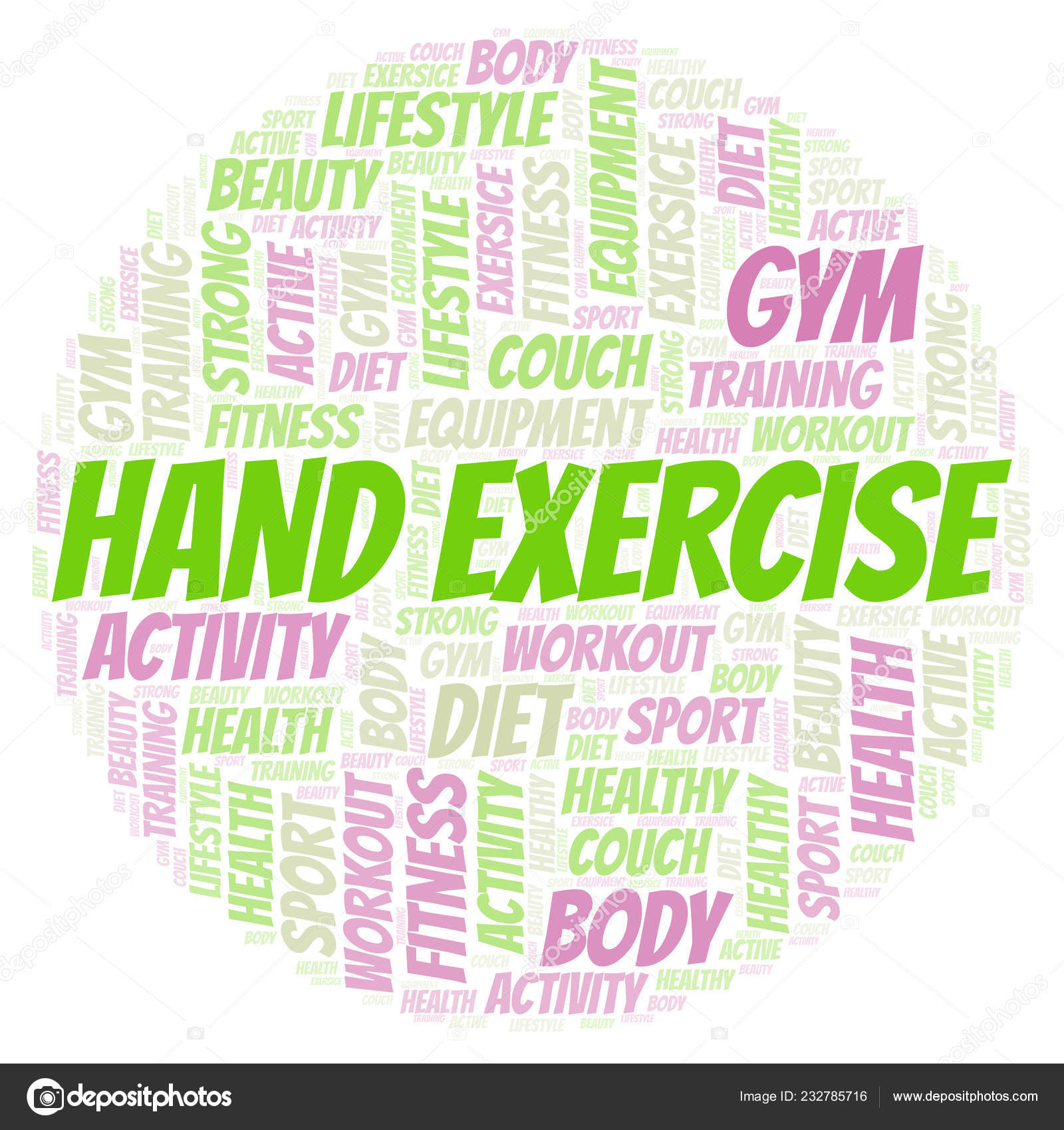 Hand Exercise Word Cloud Wordcloud Made Text Only — Stock