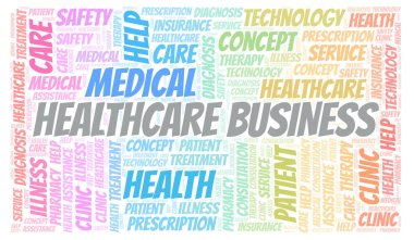 Healthcare Business word cloud. Wordcloud made with text only.