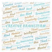 Creative Brainstorm word cloud. Wordcloud made with text only.