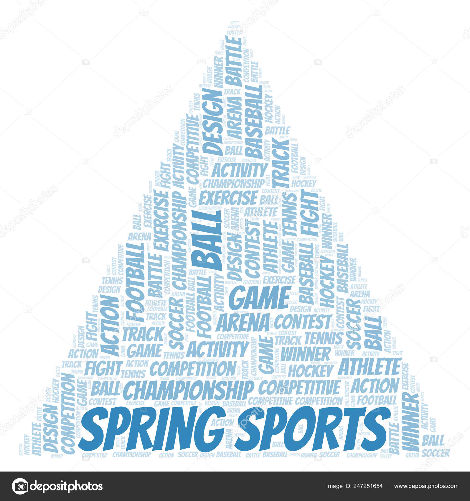 Spring Sports Word Cloud Wordcloud Made Text Only — Stock