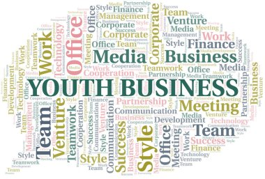 Youth Business word cloud. Collage made with text only.