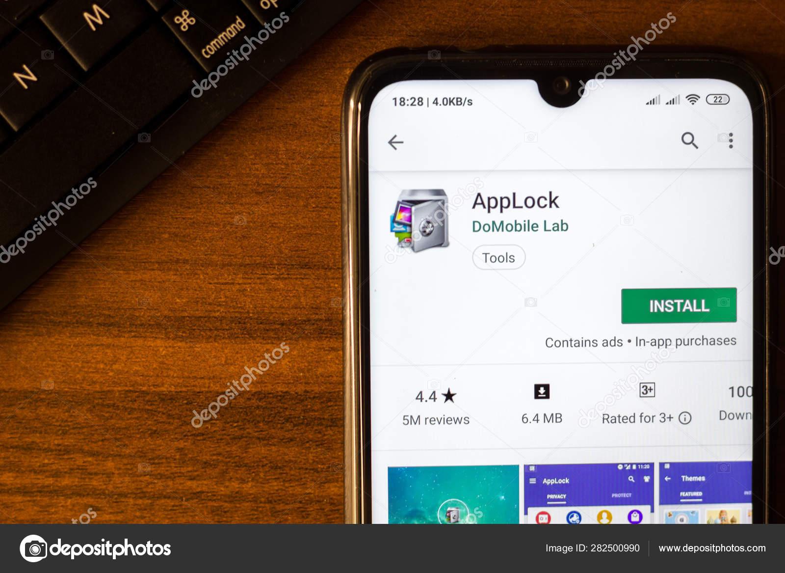 Ivanovsk, Russia - June 26, 2019: AppLock app on the display of