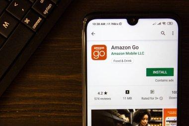 Ivanovsk, Russia - July 21, 2019: Amazon Go app on the display of smartphone.