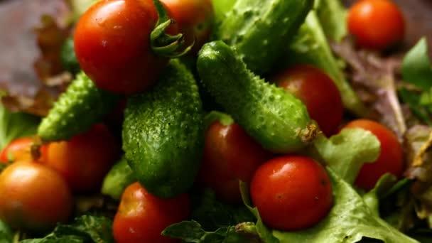 detailní záběry zralých rajčat a okurek