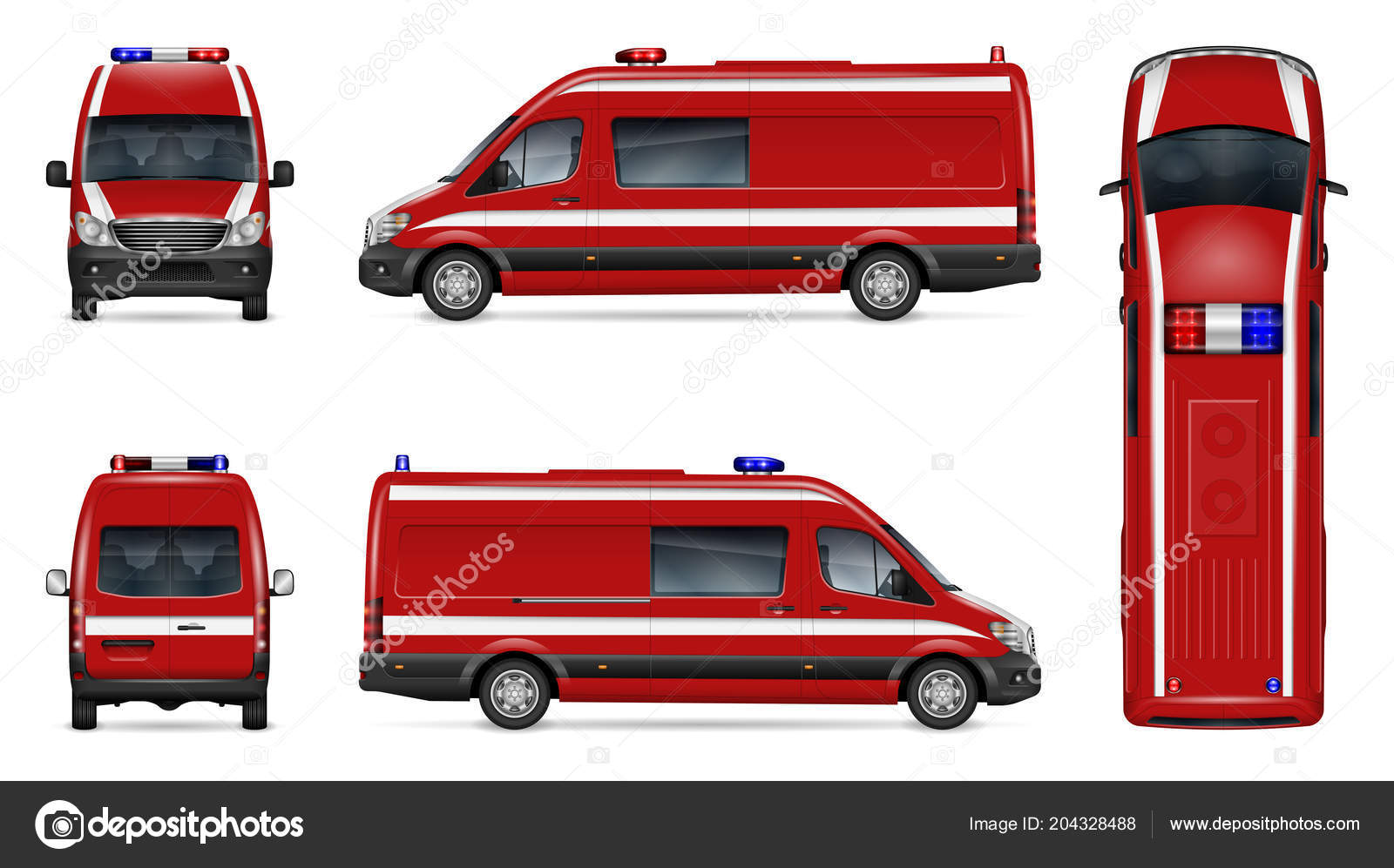 fire engine vector mockup white background isolated template red van