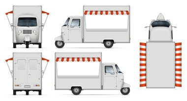 Food truck vector mockup. Isolated template of delivery tricycle on white background for vehicle branding, corporate identity. View from side, front, back, and top, easy editing and recolor.
