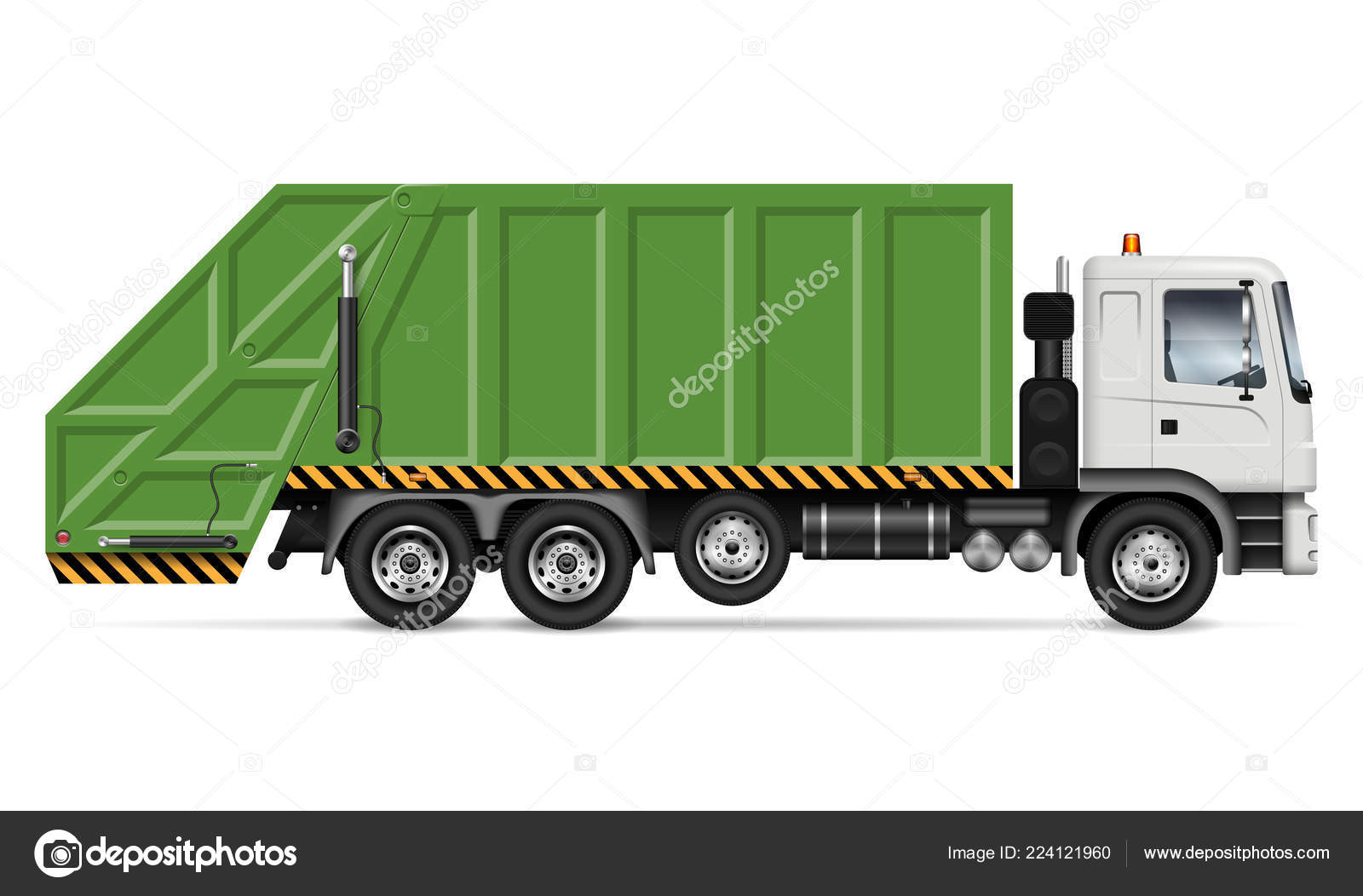 realistic garbage truck vector mockup isolated template dump lorry