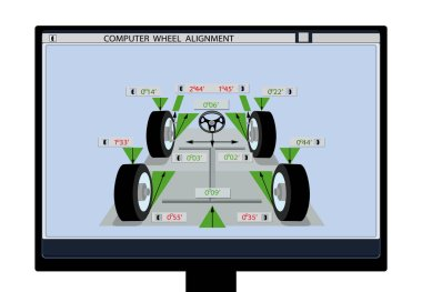 Car service. An image of a car schematic with sensors on wheels on a computer monitor. Wheel alignment. illustration