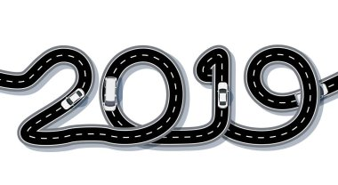 2019 New Year. The road is stylized in the form of an inscription. Freight and cars. Isolated. illustration