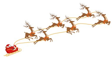 New Year. Christmas. Santa Claus on a sleigh harnessed by six deer. In color. illustration