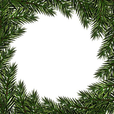 New Year. Christmas. Postcard with a pattern of Christmas trees. Place for advertising, announcements. Green branches of fir trees in a circle. illustration