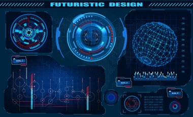 Futuristic graphic interface hud design, infographic elements, hologram of the globe. Theme and science, the theme of analysis. illustration