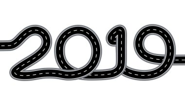 2019 New Year. The road is stylized as an inscription. Isolated On White Background. Illustration