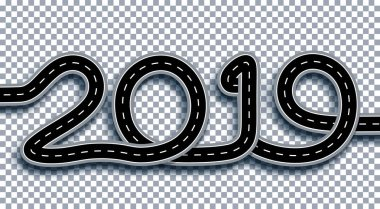 2019 New Year. The road is stylized as an inscription. Isolated On Transparent Background With Shadow. Illustration