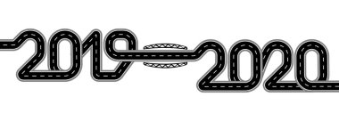 2019-2020. Symbolizes the transition to the New Year. The road with markings is stylized as an inscription. Isolated illustration