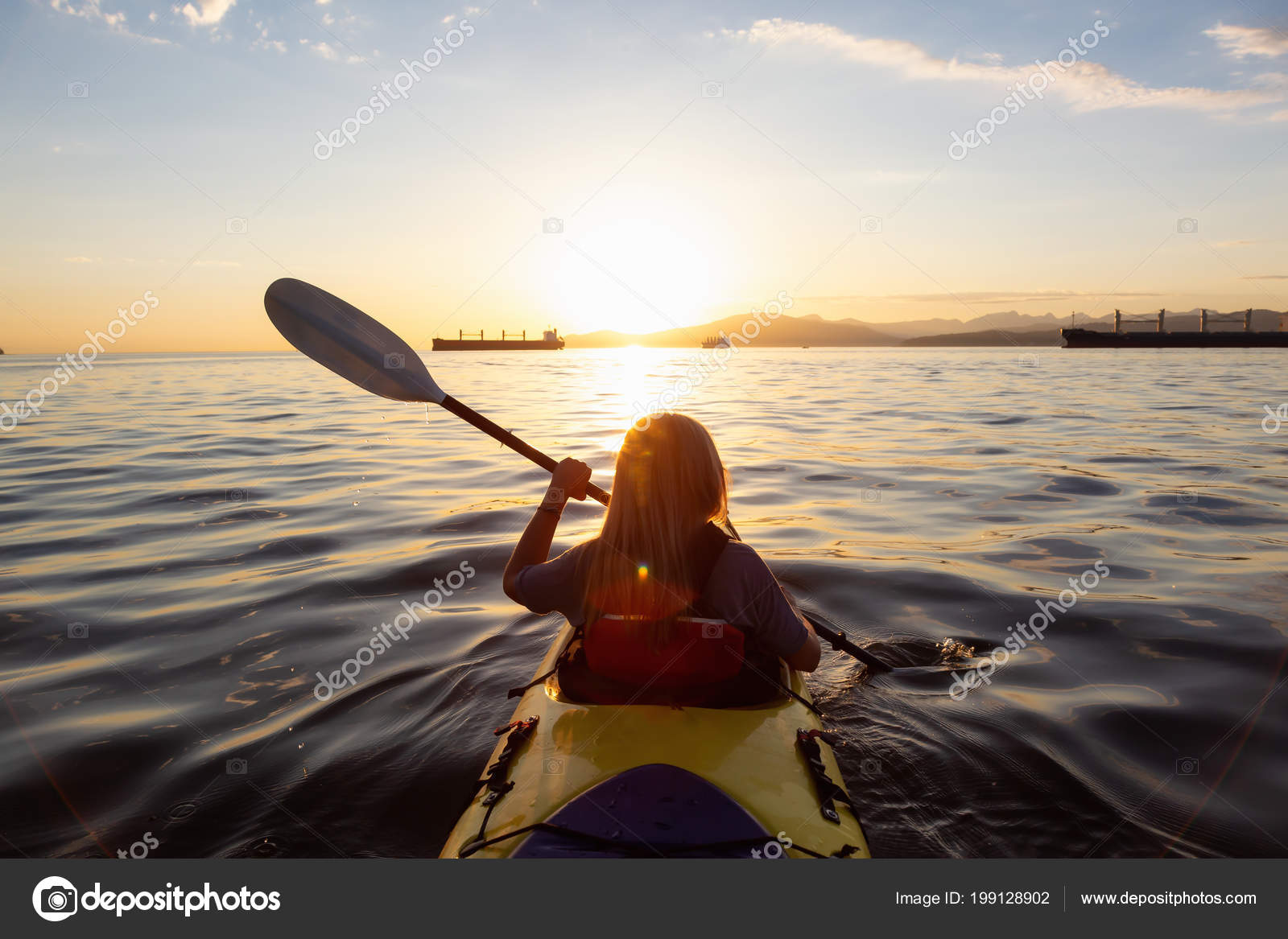 Woman Kayak Paddeling Ocean Vibrant Sunset Taken Vancouver