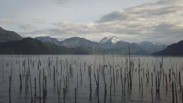 Luftbild-Drohne Landschaftsansicht der schönen kanadischen Natur während einer lebendigen Morgen. Aufgenommen im Daube-See, östlich von Vancouver, Bc, Kanada.